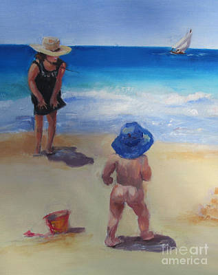 Beach Baby With Blue Hat Poster by Marge Casey
