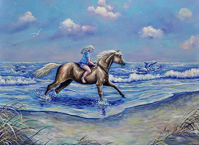 Beach Blonde Running Mates Poster by Gail Butler