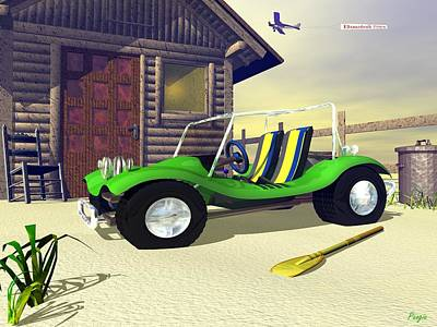 Poster featuring the digital art Beach Buggy by John Pangia