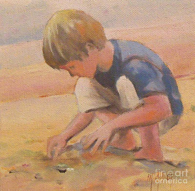 Beach Bum Boy In The Sand Poster by Mary Hubley