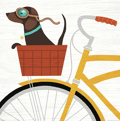Beach Bums Dachshund Bicycle I Poster by Michael Mullan