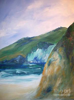 Poster featuring the painting Beach California by Eric  Schiabor