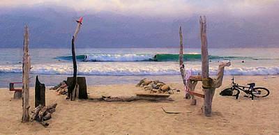 Beach Camp At Trestles Poster by Ron Regalado
