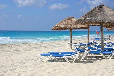 Beach Chairs In Cancun Poster