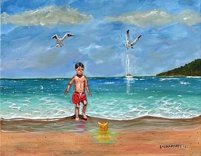 Poster featuring the painting Beach Day by Laura Forde