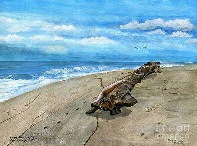 Poster featuring the painting Beach Drift Wood by Melly Terpening