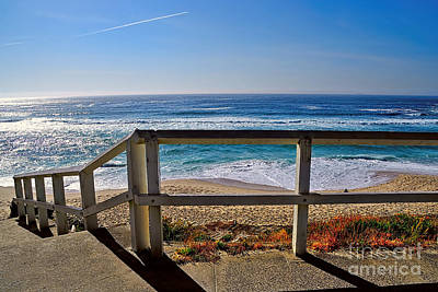 Beach Fence Ocean View By Kaye Menner Poster