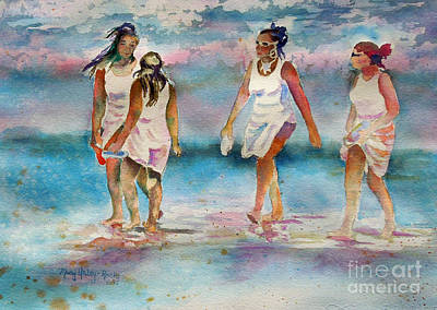 Poster featuring the painting Beach Fun by Mary Haley-Rocks
