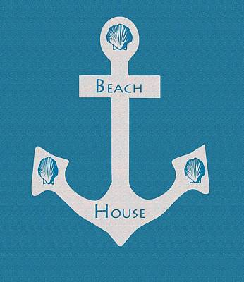 Beach House Anchor Sign Poster by Kate Farrant
