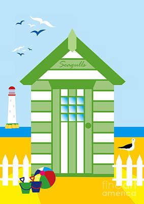Beach Hut Seagull Poster by Neil Finnemore