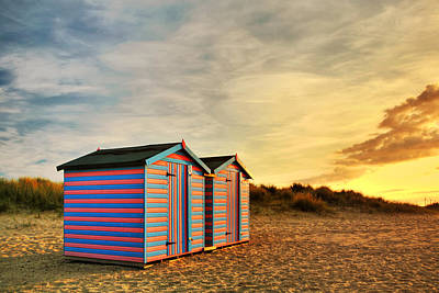 Beach Hut Sunrise Poster