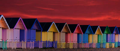 Beach Huts Poster by Martin Newman