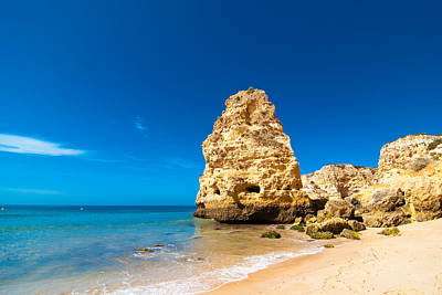 Beach In The Algarve Portugal Poster by Amanda Elwell