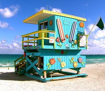 Beach Life In Miami Beach Poster by Monique Wegmueller