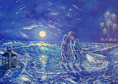 Beach Lites Poster by Gail Butler