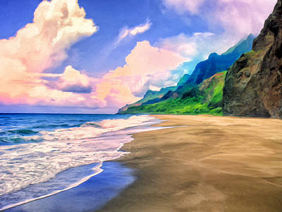 Beach On The Na Pali Coast Poster by Dominic Piperata