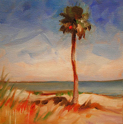 Beach Palm Tree Poster by Mary Hubley