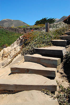 Poster featuring the photograph Beach Stairs Big Sur by Debra Thompson