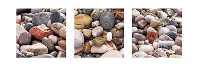 Beach Stones Triptych Poster