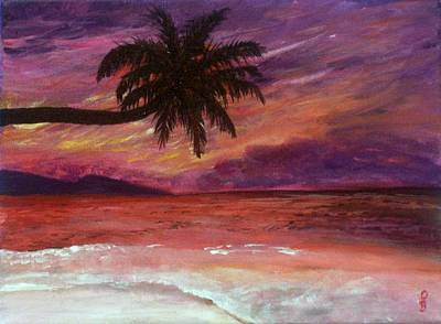 Poster featuring the painting Beach Sunset by Debbie Baker