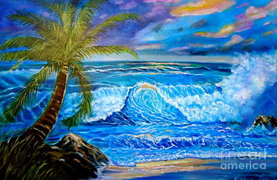 Poster featuring the painting Beach Sunset In Hawaii by Jenny Lee