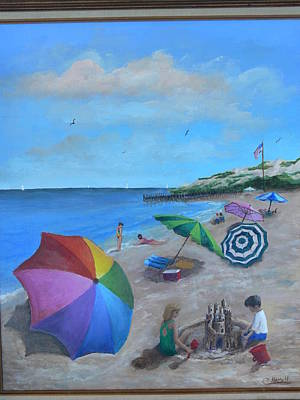 Poster featuring the painting Beach Umbrellas by Catherine Hamill