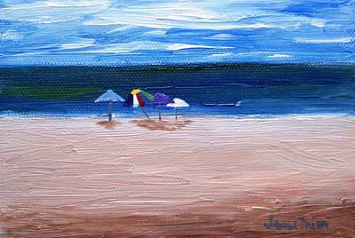 Poster featuring the painting Beach Umbrellas by Jamie Frier