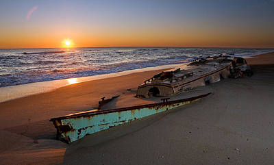 Beached Boat At Sunrise I - Outer Banks Poster by Dan Carmichael