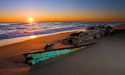 Beached Boat At Sunrise II - Outer Banks Poster by Dan Carmichael