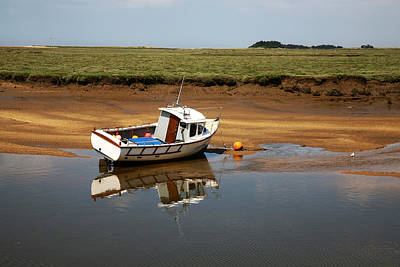 Beached Boat In River Estuary Poster