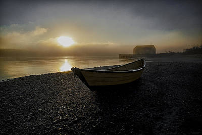 Beached Dory In Lifting Fog  Poster by Marty Saccone