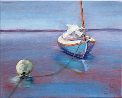 Beached Sailboat At Mooring Poster