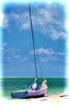 Beached Sailboat Poster