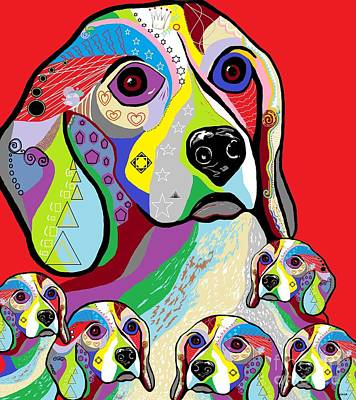 Beagle And Babies Poster by Eloise Schneider