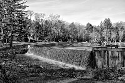 Bear Creek Lake Dam In Black And White Poster by Bill Cannon