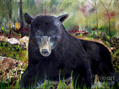 Poster featuring the painting Bear Painting - Blackberry Patch - Wildlife by Jan Dappen