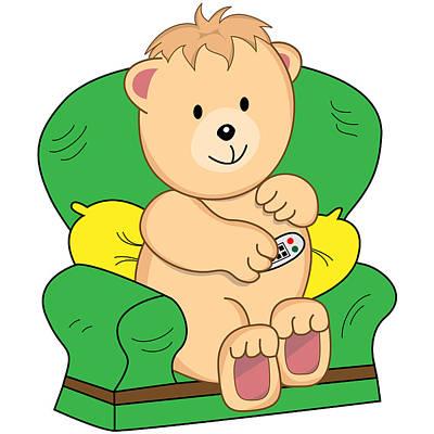 Bear Sat In Armchair Cartoon Poster by Toots Hallam