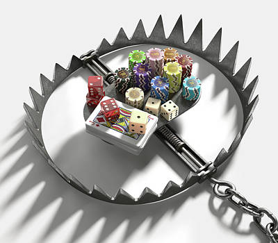 Bear Trap With Gambling Chips And Cards Poster