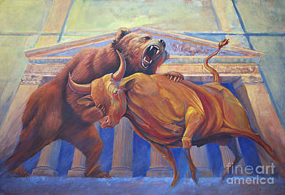 Bear Vs Bull Poster by Rob Corsetti