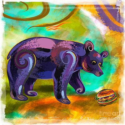 Bears Love Burger Poster by Bedros Awak