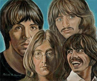 Poster featuring the painting Beatles The Fab Four by Melinda Saminski