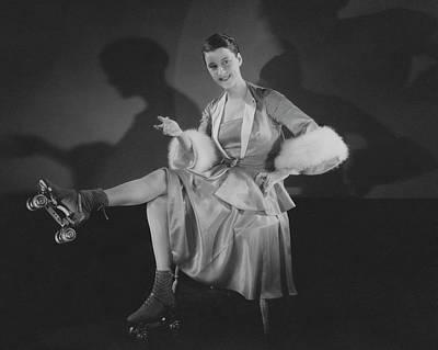 Beatrice Lillie Wearing Roller Skates Poster