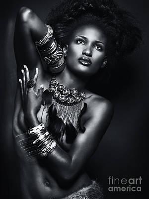 Beautiful African American Woman Wearing Jewelry Poster by Oleksiy Maksymenko