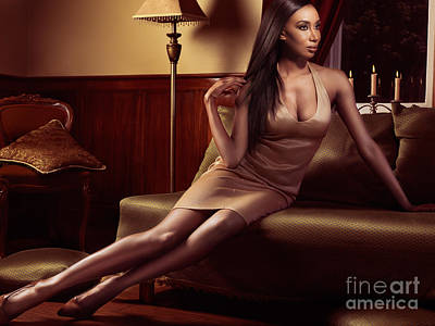 Beautiful Black Woman Sitting On A Sofa Poster