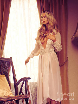 Beautiful Blond Woman In Night Gown By The Window Poster by Oleksiy Maksymenko