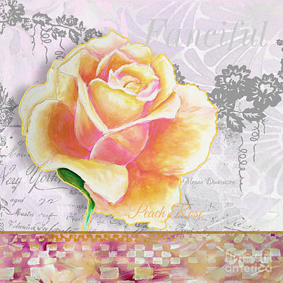 Beautiful Floral Peach Rose Original Flower Painting By Megan Duncanson Poster