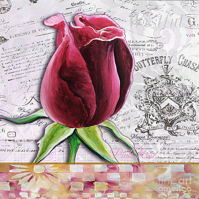 Beautiful Floral Pink Rose Original Flower Painting By Megan Duncanson Poster
