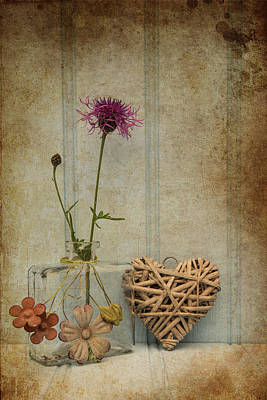 Beautiful Flower In Vase With Heart Still Life Love Concept Poster