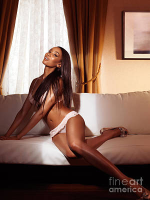 Beautiful Glamorous Smiling Black Woman In Lingerie Posing On So Poster