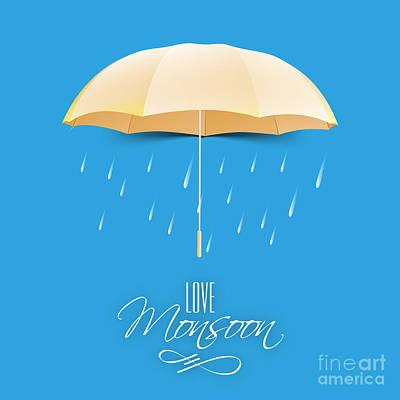 Beautiful Glossy Golden Umbrella On Poster